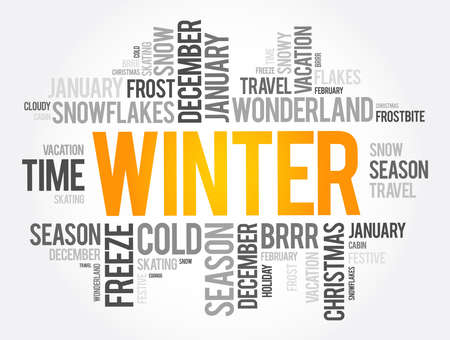 Winter word cloud collage, concept background