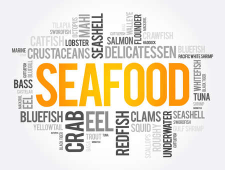 Seafood word cloud collage, food concept background Vettoriali