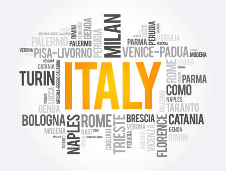 List of cities in Italy, word cloud collage, travel concept background 免版税图像 - 157874286