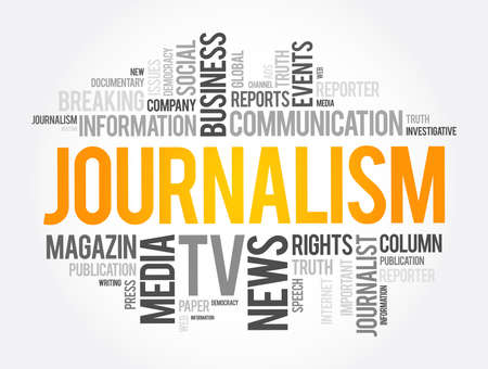Journalism word cloud collage, social concept background Vectores