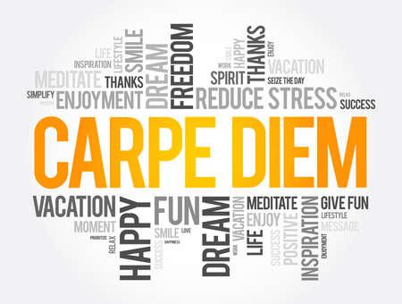Carpe Diem word cloud collage, concept background 矢量图像