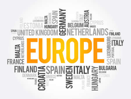 Europe List of cities word cloud collage, travel concept background 向量圖像