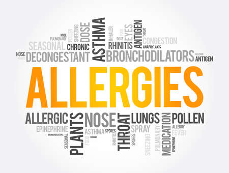 Allergies word cloud collage, health concept background Иллюстрация