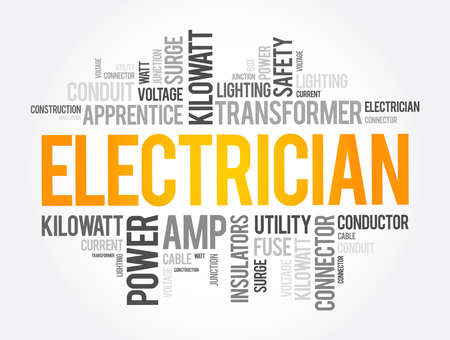 Electrician word cloud collage, concept background Ilustracja