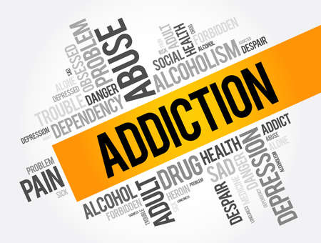 Addiction word cloud collage, health concept background Vettoriali