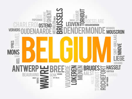 List of cities and towns in Belgium, word cloud collage, business and travel concept background 向量圖像