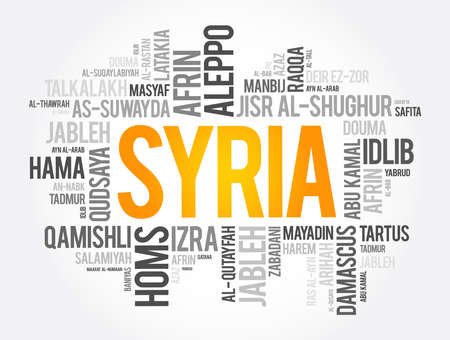 List of cities and towns in Syria, word cloud collage, business and travel concept background 向量圖像