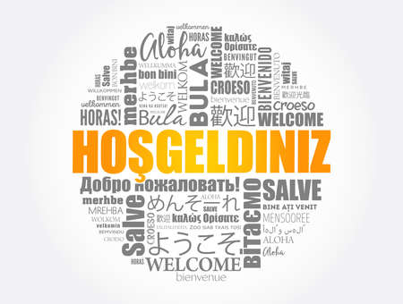 Hosgeldiniz (Welcome in Turkish) word cloud in different languages, conceptual background