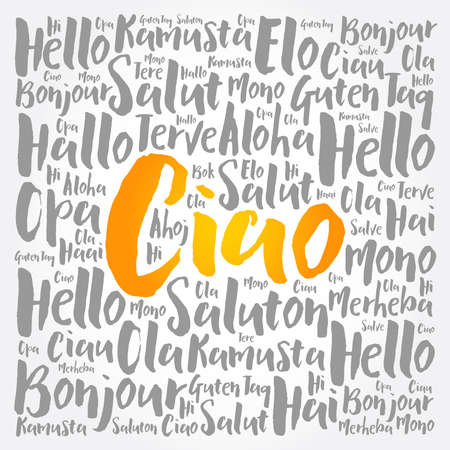 Ciao (Hello Greeting in Italian) word cloud in different languages of the world Ilustracje wektorowe