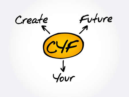 CYF - Create Your Future acronym, business concept background 矢量图像
