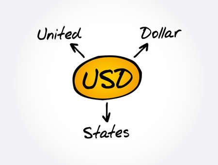 USD - United States Dollar acronym, business concept background 矢量图像