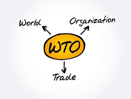 WTO - World Trade Organization acronym, business concept background