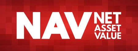 NAV - Net Asset Value acronym, business concept background Vektorové ilustrace
