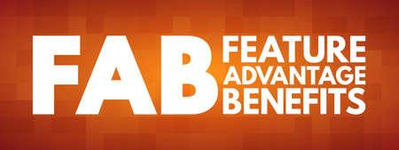 FAB - Feature Advantage Benefits acronym, business concept background 向量圖像