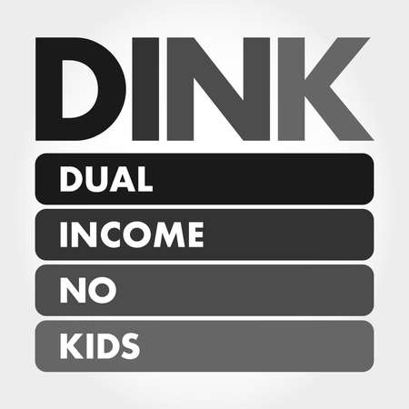 DINK - Dual Income No Kids acronym, concept background 矢量图像