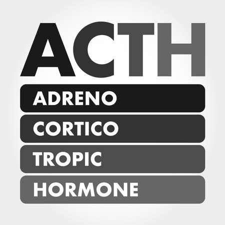 ACTH - Adrenocorticotropic hormone acronym, medical concept background Stock fotó - 157945699