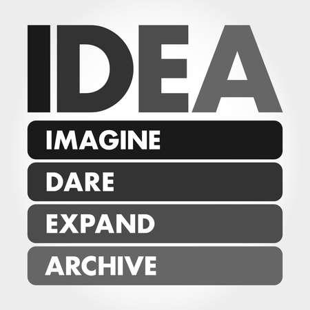IDEA- Imagine, Dare, Expand, Archive acronym, business concept background