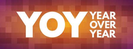 YOY - Year Over Year acronym, business concept background Vektoros illusztráció