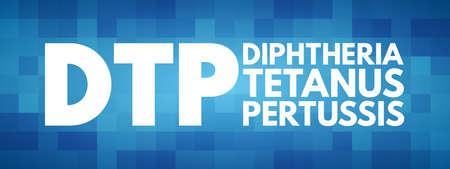 DTP - Diphtheria Tetanus Pertussis acronym, medical concept background 矢量图像