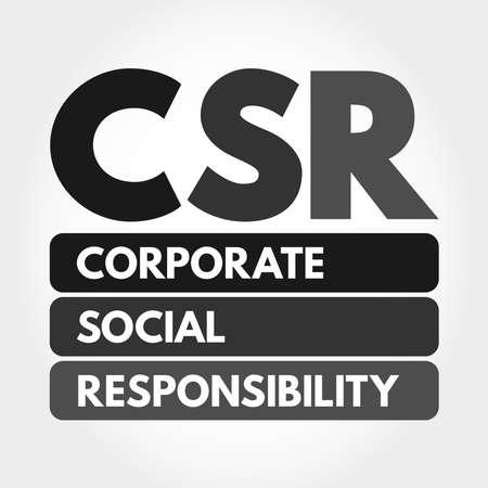 CSR - Corporate Social Responsibility acronym, business concept background Ilustração