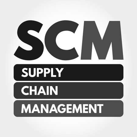 SCM - Supply Chain Management acronym, business concept background