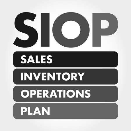 SIOP - Sales Inventory Operations Plan acronym, business concept background Illusztráció