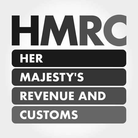HMRC - Her Majesty's Revenue and Customs acronym, business concept background Vektoros illusztráció