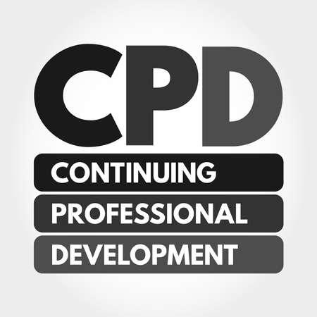 CPD - Continuing Professional Development acronym, business concept background Ilustración de vector