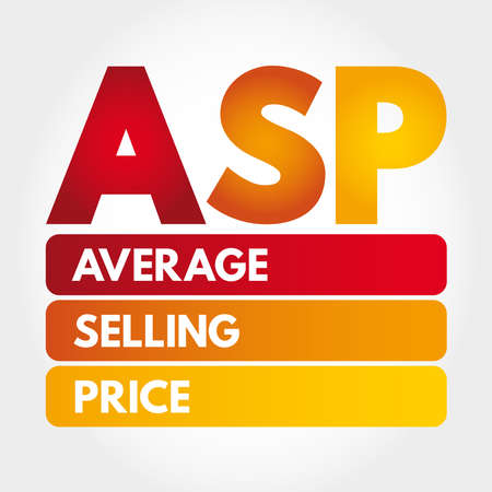 ASP - Average Selling Price acronym, business concept background Illusztráció