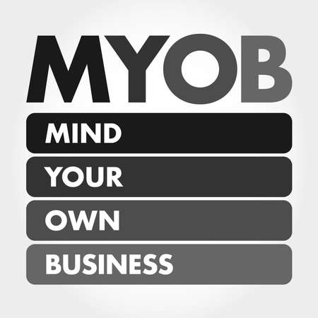 MYOB - Mind Your Own Business acronym, business concept background