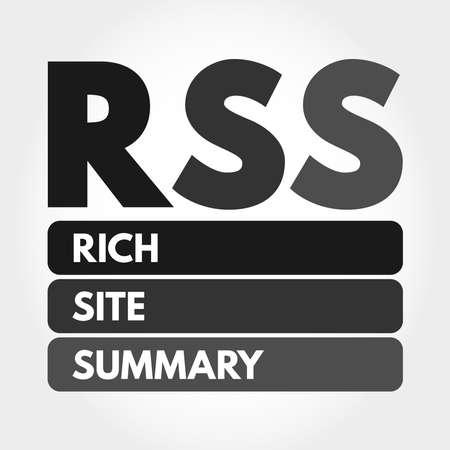 RSS - Rich Site Summary acronym, internet concept background 向量圖像