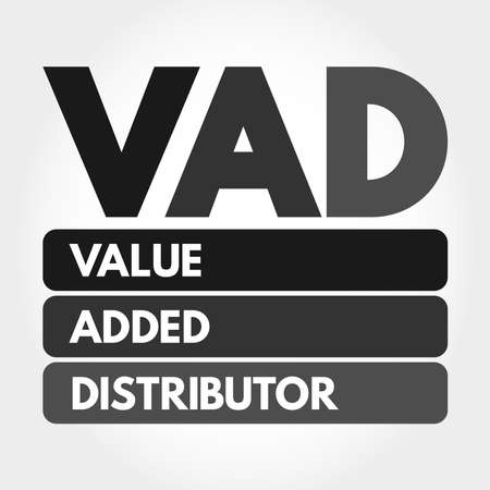 VAD - Value Added Distributor acronym, business concept background 向量圖像