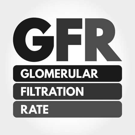 GFR - Glomerular Filtration Rate acronym, medical concept background Illusztráció