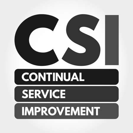 CSI - Continual Service Improvement acronym, business concept background 向量圖像