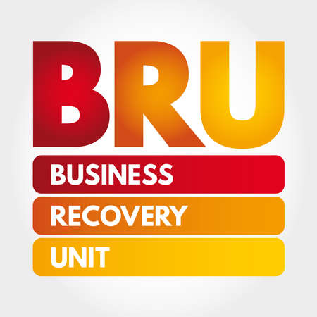 BRU - Business Recovery Unit acronym, business concept background