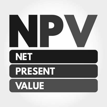 NPV - Net Present Value acronym, business concept background Illustration