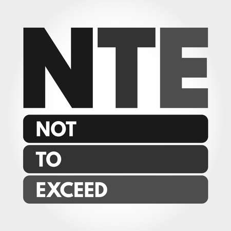 NTE - Not To Exceed acronym, business concept background Çizim