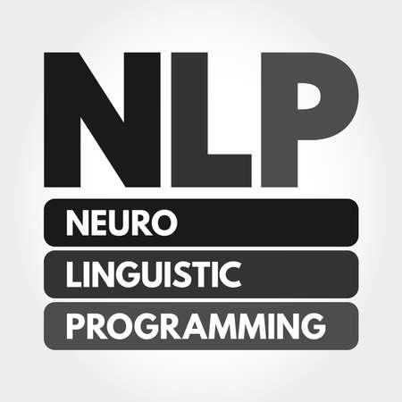 NLP - Neuro Linguistic Programming acronym, concept background 向量圖像