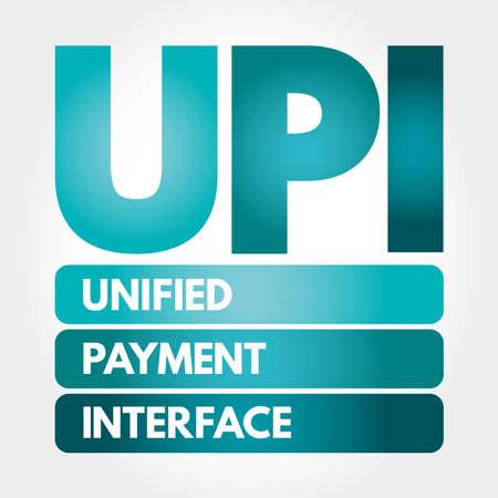 UPI - Unified Payment Interface acronym, business concept background Çizim