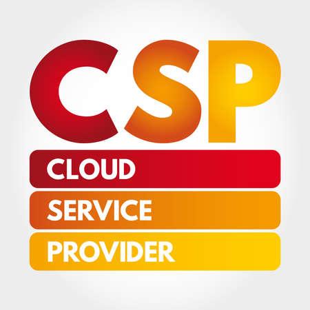 CSP - Cloud Service Provider acronym, technology business concept background