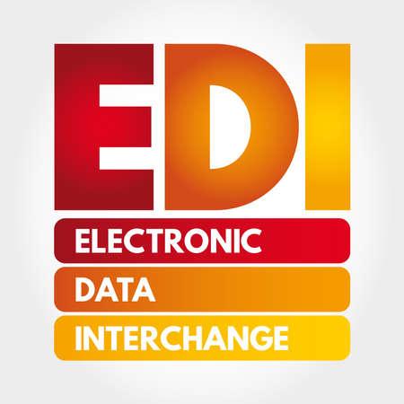 EDI - Electronic Data Interchange acronym, technology concept background Çizim