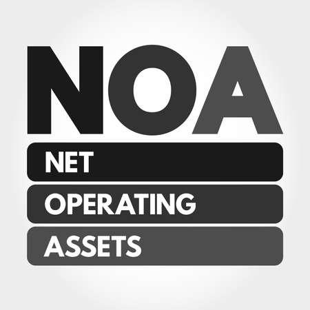 NOA - Net Operating Assets acronym, business concept background Vecteurs