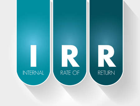 IRR - Internal Rate of Return acronym, business concept background