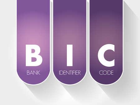 BIC - Bank Identifier Code acronym, business concept background Vecteurs