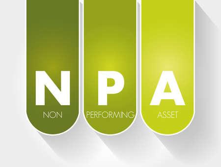 NPA - Non Performing Asset acronym, business concept background Vetores