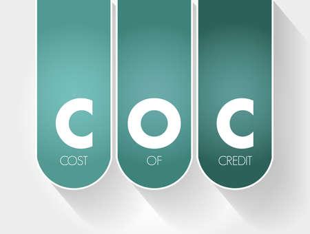 COC - Cost Of Credit acronym, business concept background Vektorgrafik