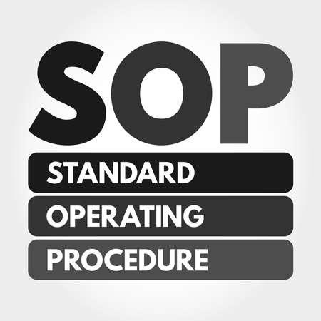 SOP - Standard Operating Procedure acronym, business concept background Stock Illustratie