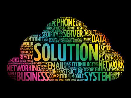 Solution word cloud collage, technology business concept background Ilustración de vector