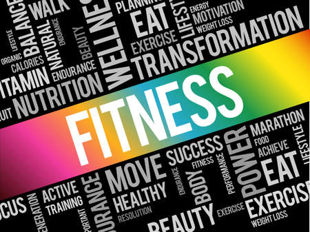 FITNESS word cloud collage, health concept background