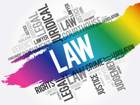 Law word cloud collage, concept background Stock Illustratie